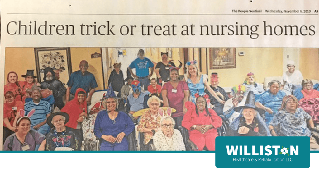 Children Trick or Treat at Nursing Homes in the People Sentinel in the November 6, 2019 Article