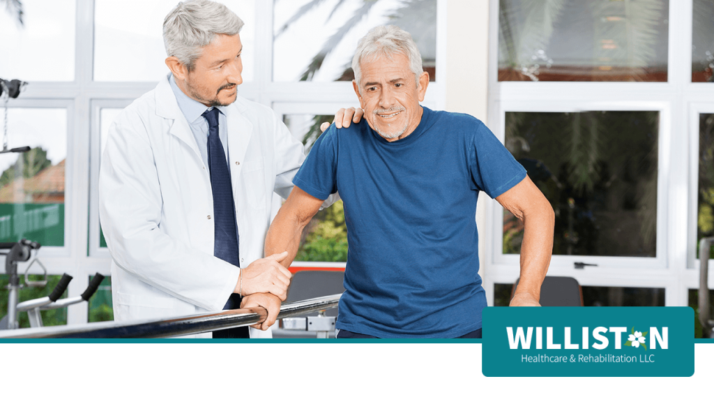 Senior in outpatient therapy with Therapist at Williston Healthcare & Rehabilitation LLC