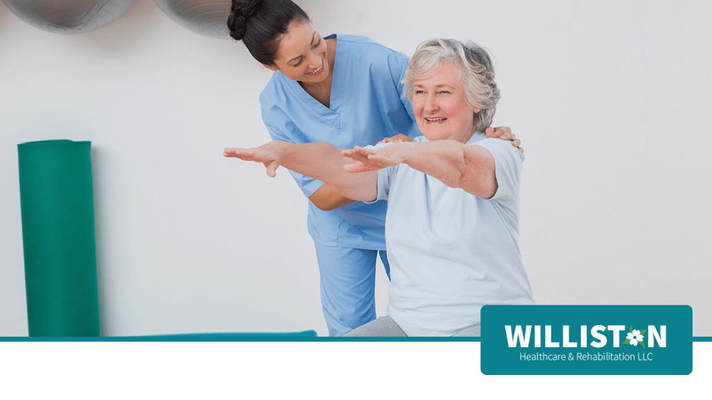 Nurse working with Senior Woman for Rehabilitation at Williston Healthcare & Rehabilitation LLC