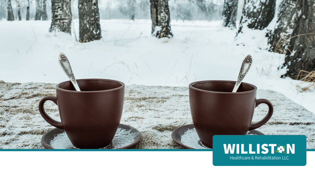 Two Cups of Tea on a Cold Winter Day Near Williston Healthcare & Rehabilitation LLC