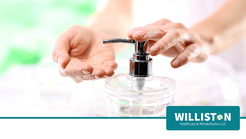 Female Washing Hands at Williston Healthcare & Rehabilitation