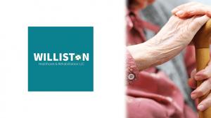 Williston Logo and Caring Skilled Nursing Staff Holding Elderly Persons Hand