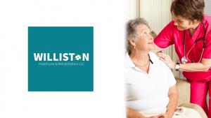 Williston HC Logo and Nurse Caring for Senior